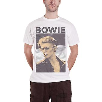 David Bowie T Shirt Vintage Retro Smoking Pose Logo Official Mens New White