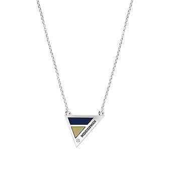 US Naval Academy Engraved Sterling Silver Diamond Geometric Necklace In Blue & Tan