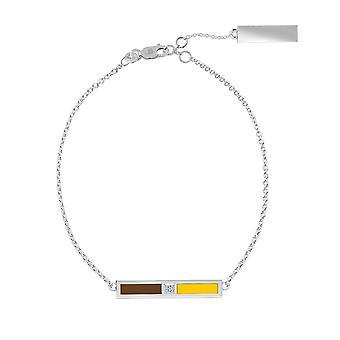 Valparaiso University Sterling Silver Diamond Bar Chain Armband i brunt och gult