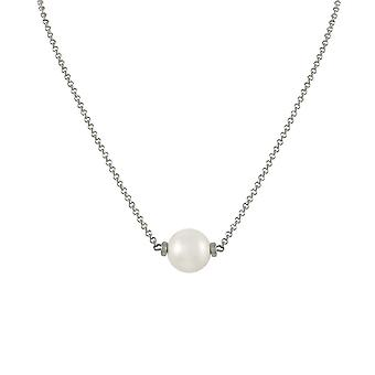 Eternal Collection Faithful White 12mm Shell Pearl Silver Tone Necklace