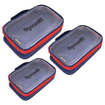 SHANY Organizatto Organizer 3-i-1 Set - Tre bärbara blixtlås dukar med tydlig PVC öppning i marinblå - 3 PC