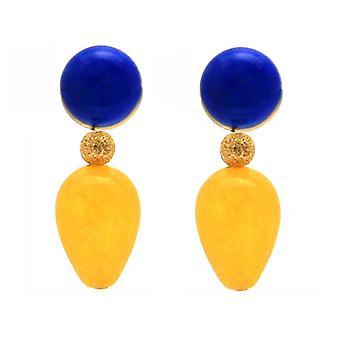 Gemshine örhängen blå lapis lazuli Golden Yellow Jade ädelsten Drop pläterad