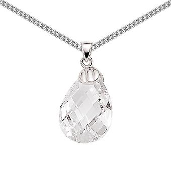 Jewelco London Rhodium Plated Sterling Silver Pear Cubic Zirconia Pear Drop Charm Necklace 18 inch