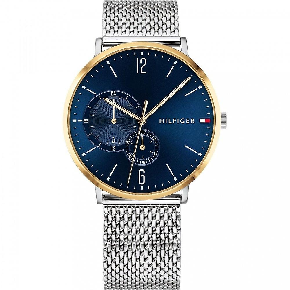 Tommy Hilfiger Mens 'Brooklyn' Round Blue Multi Dial Gold Plated Bezel And A Stainless Steel Mesh Bracelet Watch