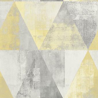 Driehoek geometrische Vintage geel behang non woven textuur vinyl Rasch