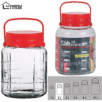 2L sticlă jar alimente păstra sigiliu-Able Airtight container cu capac din plastic roșu