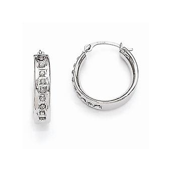14k White Gold Polished Diamond Fascination Round Hinged Hoop Earrings Measures 17x5mm Jewelry Gifts for Women