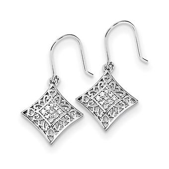 925 Sterling Argento Dangle polacco Scatola Pastore Pastore gancio Rhodium-plated Cubic ii amo