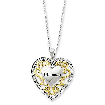 925 Sterling Silver polerad spring ring rodium pläterad Accent guldplätering CZ Cubic Zirconia Simulerad Diamond Love Hea