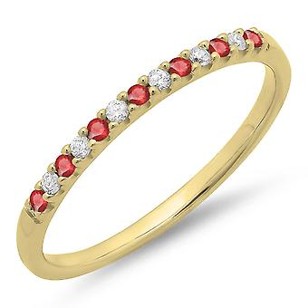 Dazzlingrock Collection 14K Ronde Ruby et White Diamond Anniversary Wedding Band Stackable Ring, Or Jaune