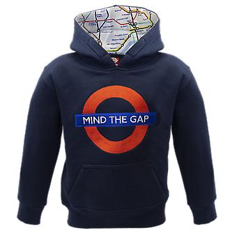 Tfl™129k kids licensed chain stitch embroidery mind the gap™ hoodie navy