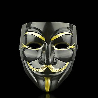 Anonyme Gesichtsmaske Guy Fawkes-schwarz-gold