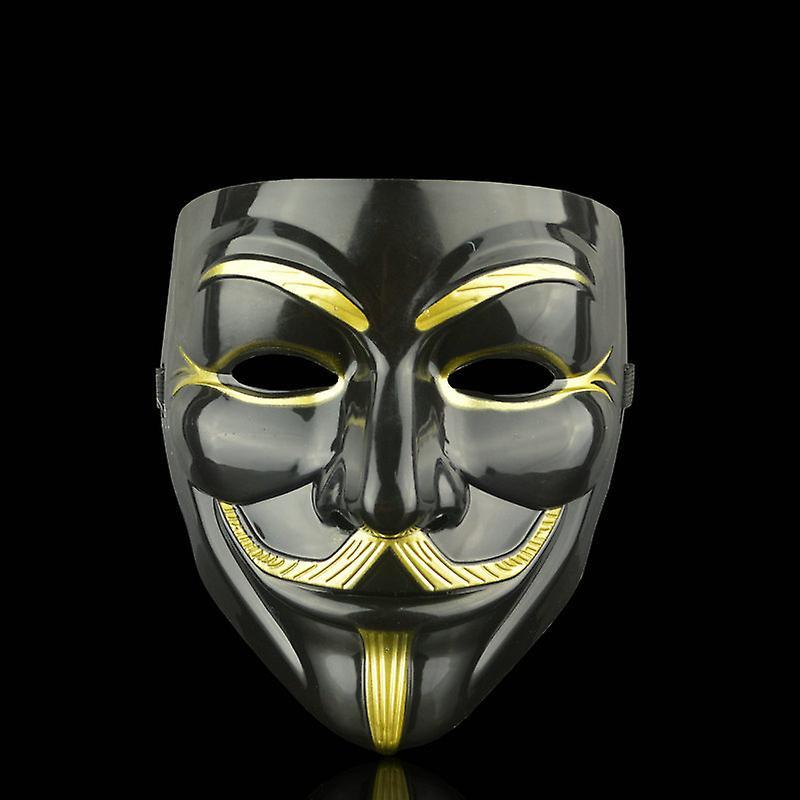 Maschera facciale anonima Guy Fawkes-black-gold