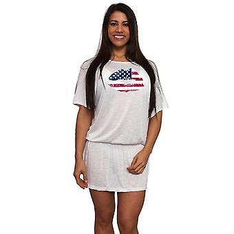 Women's USA Flag Lips Band Waist Beach Dress