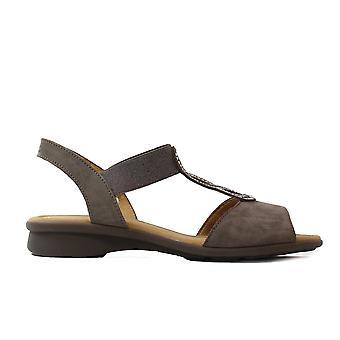 Gabor Merlin 065-31 taupe nubuck læder dame T bar sandaler