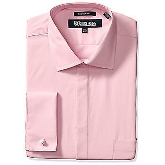 STACY ADAMS Men's Big-Tall 39000 Solid Dress Shirt, Pink, 17.5