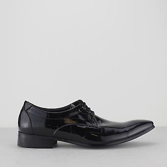 Mister Carlo Victor Mens Patent Lace Up Shoes Black