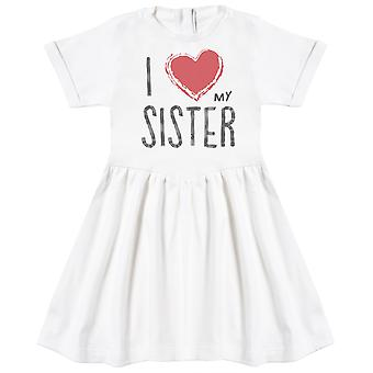 I Love My Sister Red Heart Baby Dress