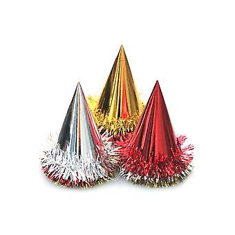 Kartonnen Cone hoed met klatergoud trim