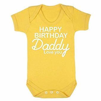 Hyvää syntymä päivää isä keltainen lyhythihainen babygrow