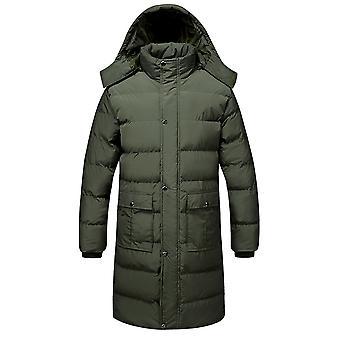 Allthemen Men ' s solid îngroșat cu glugă căptușit Mid-length haina casual fermoar gros overcoat iarna cald outwear