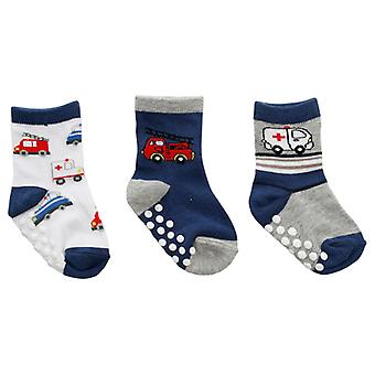 Slip sokken 3 Pairs-wit/blauw/grijs met voertuigen