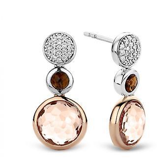 Øreringe Ti Sento 7779TP - penge 2 sten lyserød og brun øreringe