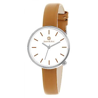James And his JAS10042 206 - watch Leather Brown woman