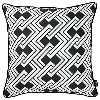 """18""""x 18"""" Tropical BW Links Squares Decorative Throw Pillow Cover"""