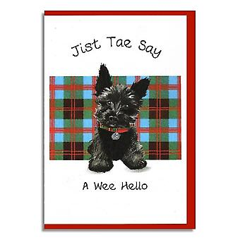 Embroidered Originals Greetings Jist Tae Say A Wee Hello Scottish Card