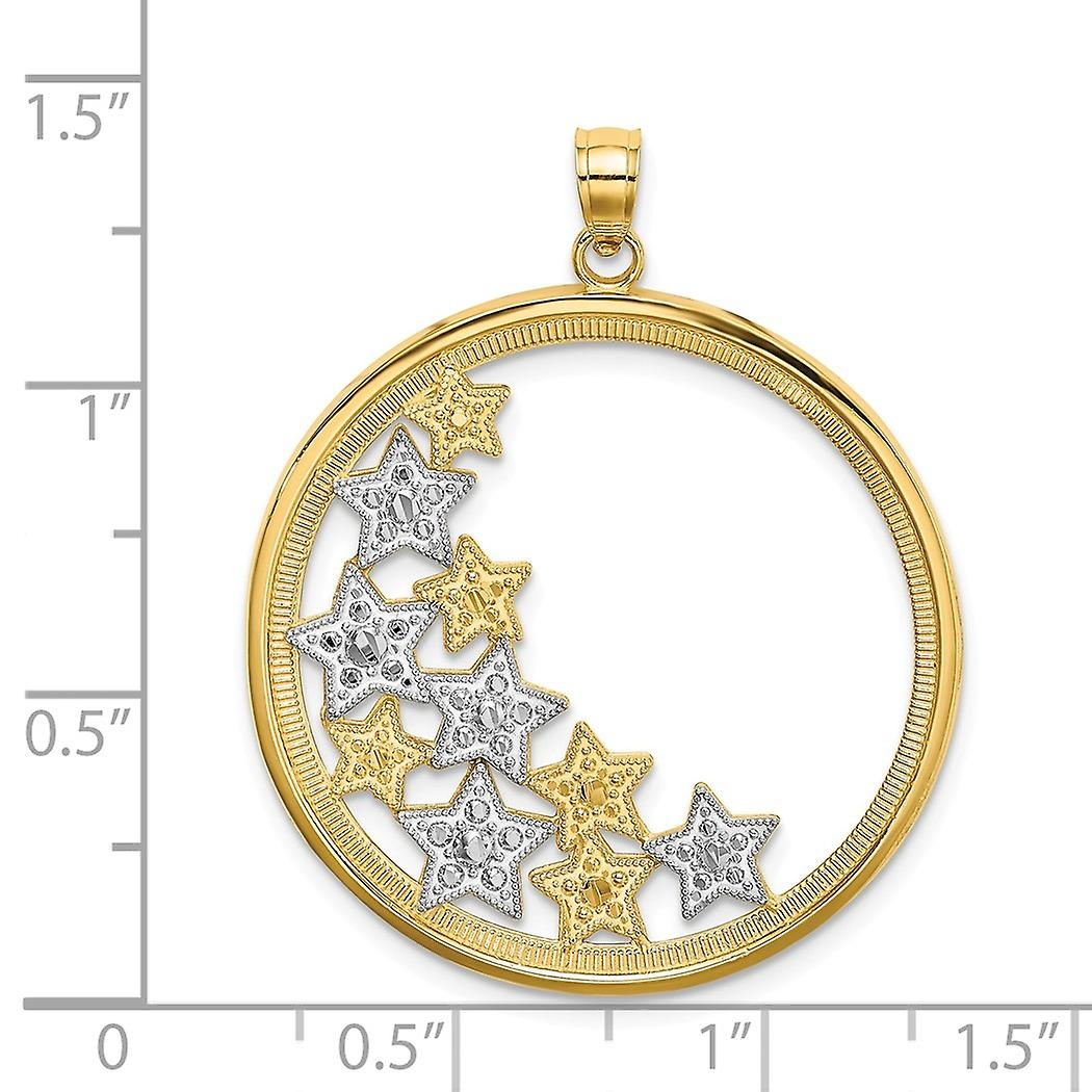 29mm 14k Two tone Gold Side Cluster Of Sparkle Cut Stars In Round Frame Cut out and Two color Charm Pendant Necklace Jew
