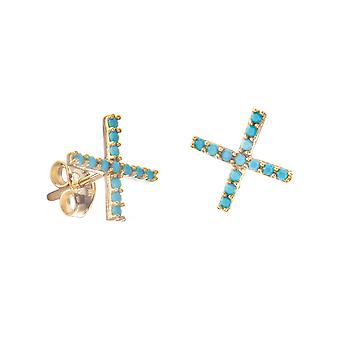 14k Yellow Gold X Stud Earrings With Nano Simulated Turquoise Earrings Jewelry Gifts for Women