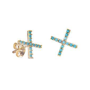 14k Yellow Gold X Stud Oorbellen met nano gesimuleerdturquoise oorbellen sieraden geschenken voor vrouwen