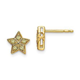 14k Jaune Or Jaune Jaune Jaune Sapphire Star Post Boucles d'oreilles Bijoux Bijoux pour les femmes - .9 Grams .10 cwt