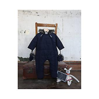 De Essential One Baby Fur Trim Navy Snowsuit