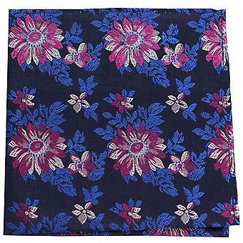 Posh and Dandy Flowers Silk Handkerchief - Navy/Fuchsia