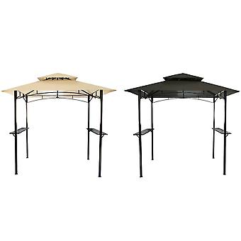Charles Bentley Powder Coated Steel Frame Grill Gazebo Outdoor Tent Shelter in Beige and Grey-8X5Ft