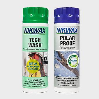 NIKWAX Polar Proofer & Tech Wash Twin Pack 300ml Waterproof Protection Green