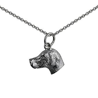 Silver 12x19mm Dog Head Pendant with a rolo Chain 24 inches