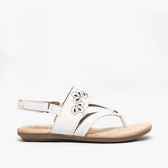 Earth Spirit Ontario Ladies Leather Toe Post Sandals White
