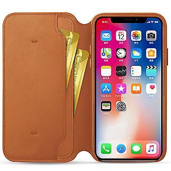 Genuine leather folio iphone xs max case