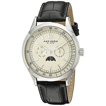 Akribos XXIV men s in vintage, multifunction, stainless steel case, black leather strap, colour: black