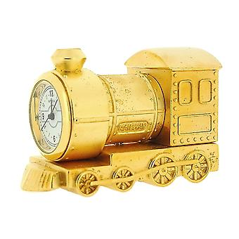 Miniature Goldtone Metal Steam Engine Train Novelty Collectors Clock IMP79