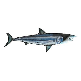 Blue Metal and Glass Great White Shark Wall Art Sculpture