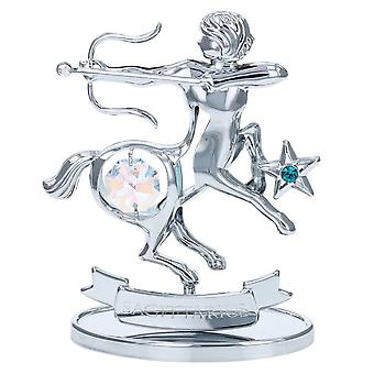 Crystocraft Sagittarius Zodiac Sign Crystal Ornament With Swarovski Elements Gift Boxed Aurora Borealis Crystals Silver Chrome Plated Perfect Keepsake Collectors Gift Figurine Home Decor Astrology