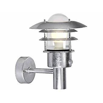 1 Light Outdoor Wall Lantern Light Galvanised With Sensor Ip44