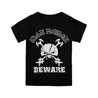 Iron Maiden Toddler T Shirt Negru Beware Skull Oficial (Vârstele 3-24 luni)