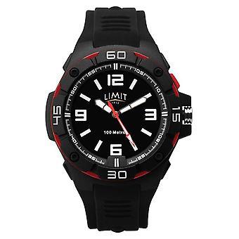 Limiet | Mannen's Zwarte Rubberen Band | Zwarte wijzerplaat | Rood/zwart bezel 5789.65 Horloge