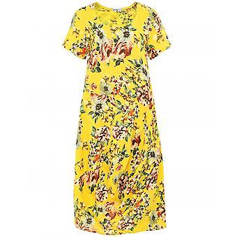 蓝莓意大利亚麻短袖花卉连衣裙