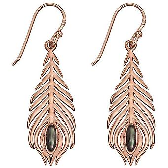 Elements Silver Peacock Feather Earrings - Rose Gold